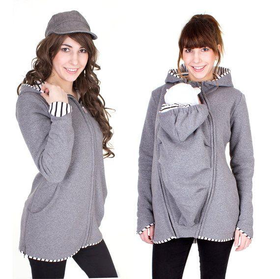 Baby dragen jas met 3 in 1, zwangerschap, baby, maternity wear, Sweatshirt kinderschoentjes, Grey Heather, gestreept, LEVENDIG, draagdoek jas