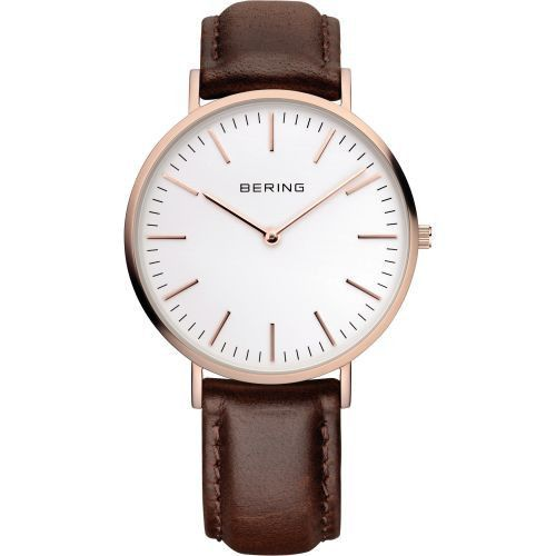 BERING 13738-564 Classic Unisex Watch Brown Leather Strap Sapphire Crystal