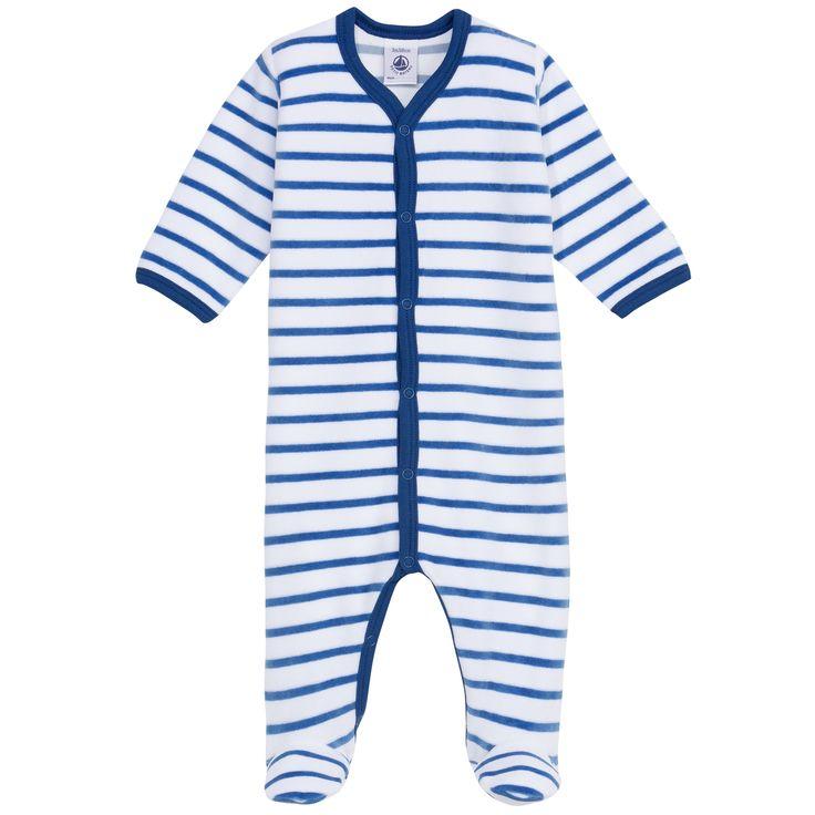 Pyjama en velours rayé - Bleu Petit Bateau