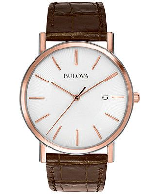 Bulova Men's Brown Leather Strap Watch 37mm 98H51 - Men's Watches - Jewelry & Watches - Macy's
