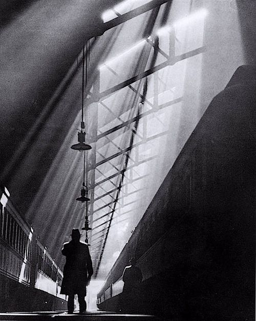 William M. Rittase - Light Rays on Trains, La Salle Street Station, Chicago, 1931