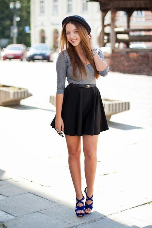 Gray wear with black skirt . Casual street wear   Gloss Fashionista