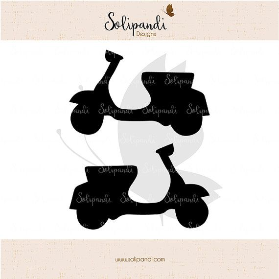 Scooter/Vespa/Moped // Transport // scrapbooking // SVG and DXF Cut Files by SolipandiDesigns