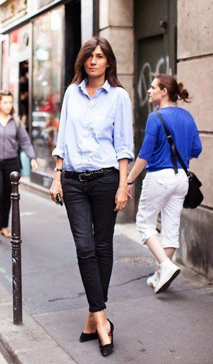 Classic blue shirt made fashionable!!