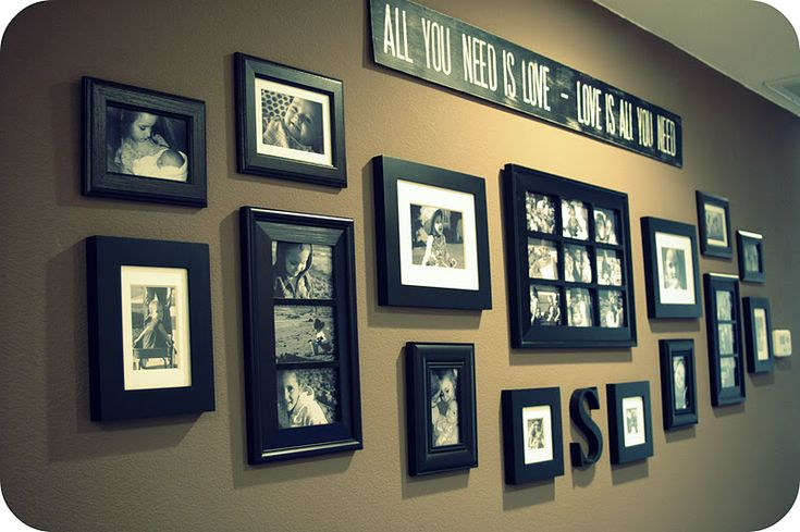 Good idea for a long hallway.  Matted and frames candids
