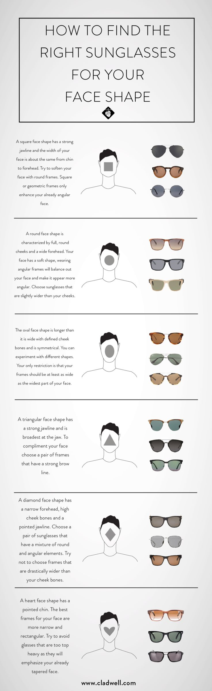 "It seems the sun is once again making an appearance. So you know what that  means? It's time to get out your favorite pair of shades. But have you ever  asked yourself, ""Do these really look good on me?"" Well for better or for  worse we have the answer to what type of sunnies work best for your face  shape. Imagine we just said that with an Australian accent.   Quick Recap:  Square faces look best in circular frames that soften your more angular  face.  Round faces look best in square or…"