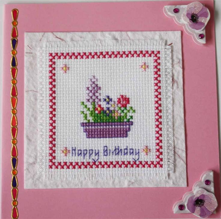 Cross stitch Flower basket happy birthday card #handmade #handcrafted