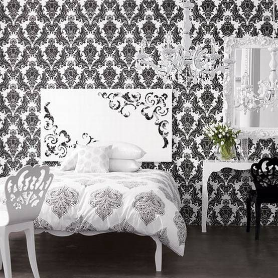 love the wallpaper...black and white room