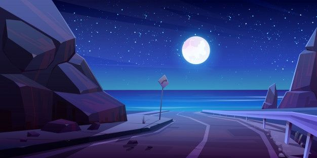 Download Mountain Road With Night Seaview Empty Highway For Free In 2020 Landscape Background City Cartoon Dark Backgrounds