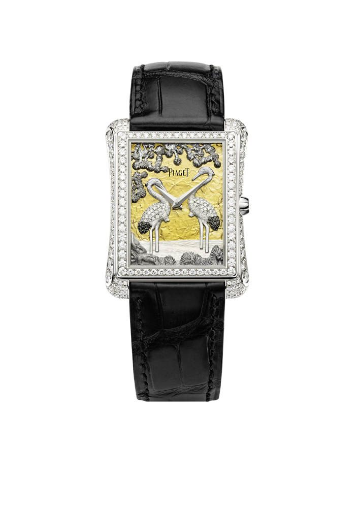 Piaget Emperador Gold Dial 18-carat white gold case set with 163 brilliant-cut diamonds.Mythical Journey logo engraved on the case-back.18-carat gold dial with diamond-set appliques representing a couple of cranes, pine trees and water Manufacture Piaget 534P, self-winding mechanical movement. Bracelet in black alligator with white gold ardillon buckle. #Piaget #watch #amythicaljourney