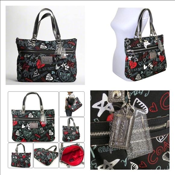 I just discovered this while shopping on Poshmark: Coach Poppy Graffiti Hearts & Dust bag. Check it out! Price: $200 Size: 16 x 13 x 5, listed by justpeep