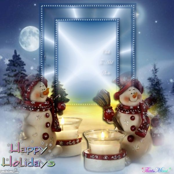 ~*~ Happy Holidays! ~*~ Click to add your photo to this and send to people you care about!  #happy #holidays #greetingcard #free #template #snowman