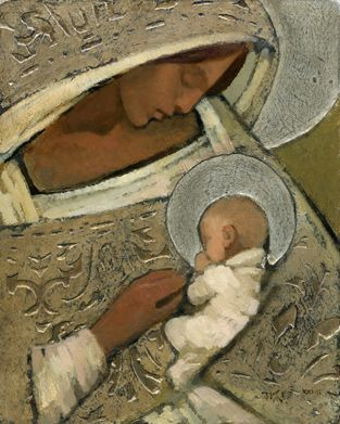 """J Kirk Richards """"Mother and Child in silver"""""""