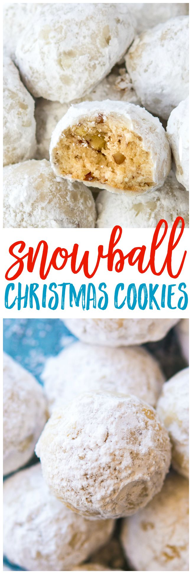 Snowball Christmas Cookies - The best buttery, pecan shortbread cookie (sometimes called Russian Teacakes or Mexican Wedding Cookies). You're going to adore these classic snowball Christmas cookies this holiday!