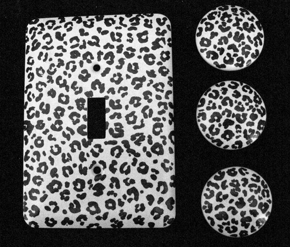 Leopard Print Black And White Hand Painted Drawer Knobs