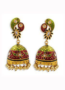 Tricolored Beads Jhumka Earrings