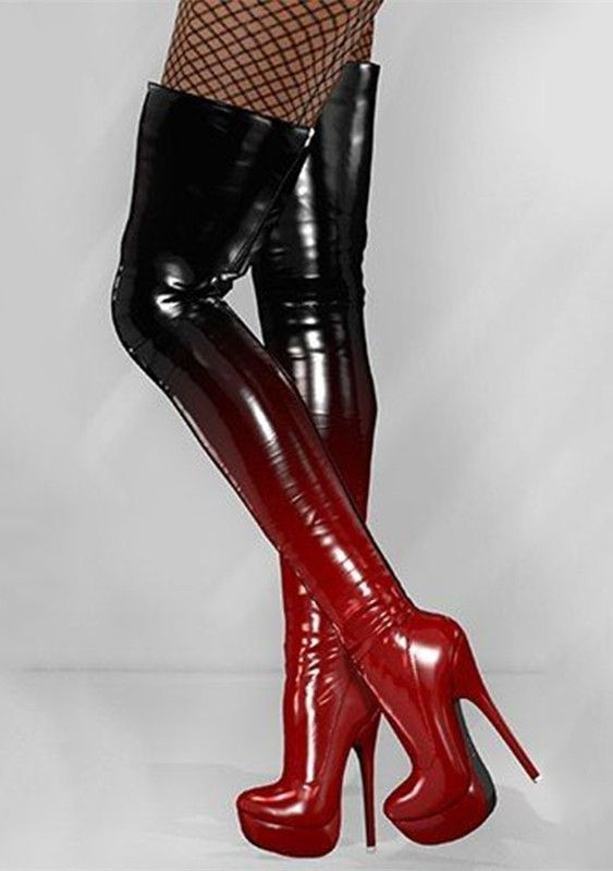 Shoespie Changing Black to Red Knee High Platform Boots