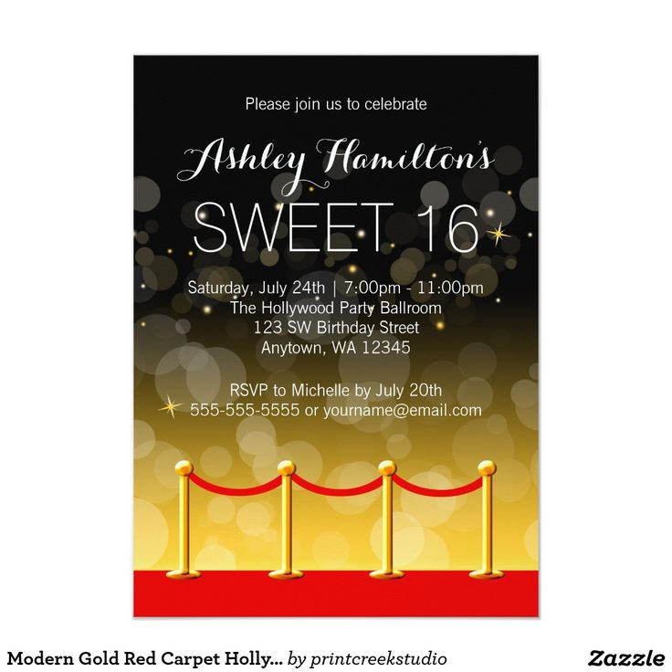 Modern Gold Red Carpet Hollywood Sweet 16 4.5x6.25 Paper Invitation Card