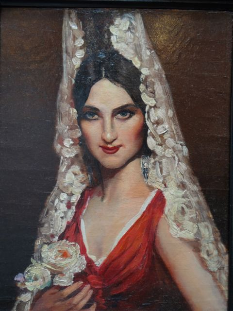 Spanish Lady in a White Mantilla and a Red Dress (1890 ...