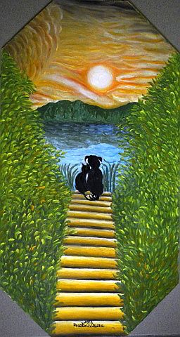 Kutya - macska barátság - Örök barátságok olajfestmény kutya, macska ül a tóparton