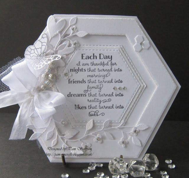 Handmade Card White On White Hexagon Shape With