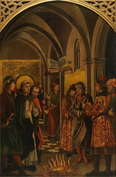 La prueba del fuego (Santo Domingo y los albigenses) /  Saint Dominic and the Albigensians // Finales del siglo XV // Pedro Berruguete // #SaintDominic