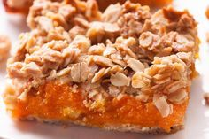 Crumbly Oat and Apricot Bars, made with a combination of dried apricots and apricot preserves- can't wait to bite into one of these