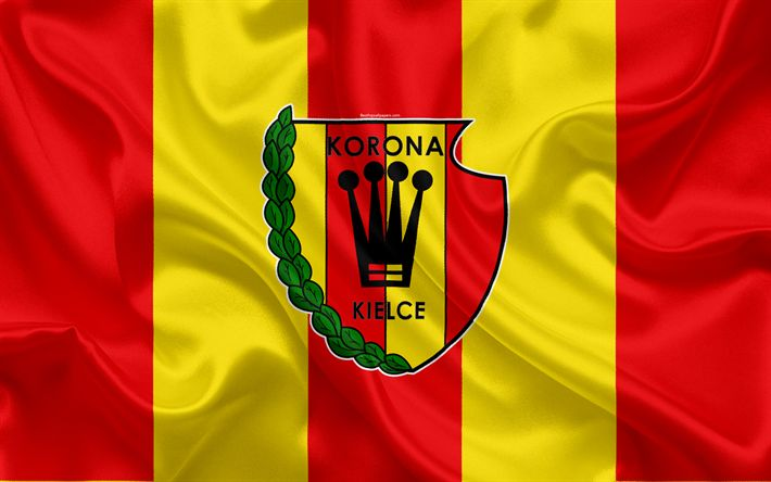 Download wallpapers Korona Kielce FC, 4k, Polish football club, logo, emblem, Ekstraklasa, Polish football championship, silk flag, Kielce, Poland