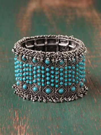 Turquoise fringe bracelet from www.freepeople.com. #jewelry #silver #fashion