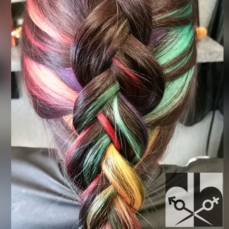 This peek-a-boo rainbow hair was done by salon owner ...