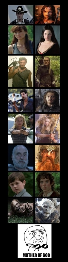 Walking Dead vs. Lord of the Rings http://media-cache4.pinterest.com/upload/7248049370326482_pjwi1yT2_f.jpg mkrivera things