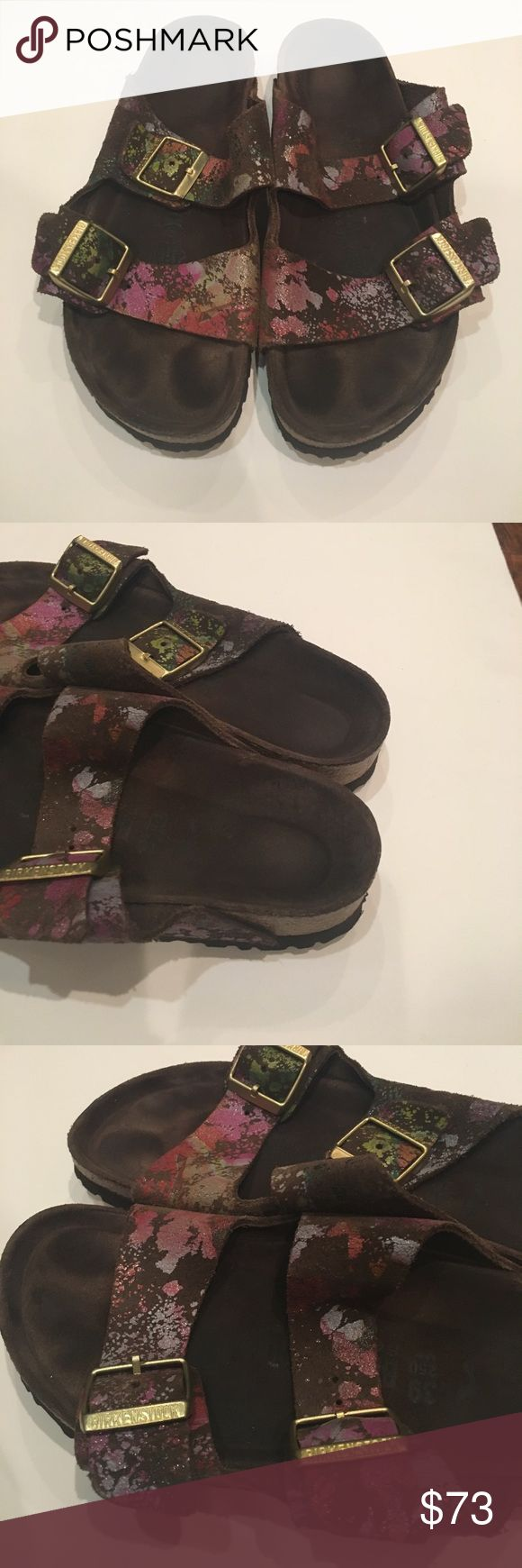 Birkenstock Sandals Sz 39 multi colored 2 strap Good condition Birkenstocks minor wear on color of straps and insole heels. See pictures. Beautiful shoes. Birkenstock Shoes Sandals