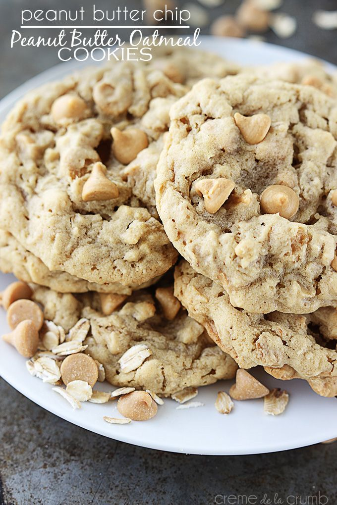 Peanut Butter Chip Peanut Butter Oatmeal Cookies http://lecremedelacrumb.com/2013/12/peanut-butter-chip-peanut-butter-oatmeal-cookies.html