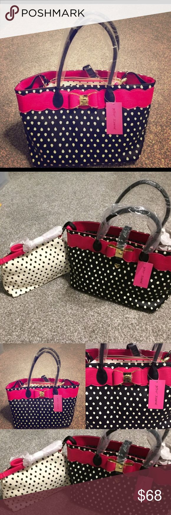 """NWT- Betsey Johnson Large Tote AND Cross Body bags Two bags in one!! Large tote and coordinating cross body/clutch bag.  Betsey Johnson's """"Bag in a Bag"""" features a polka dot pouch that becomes a stylish cross body or clutch bag when unsnapped from the interior.  NWT Betsey Johnson Bags"""