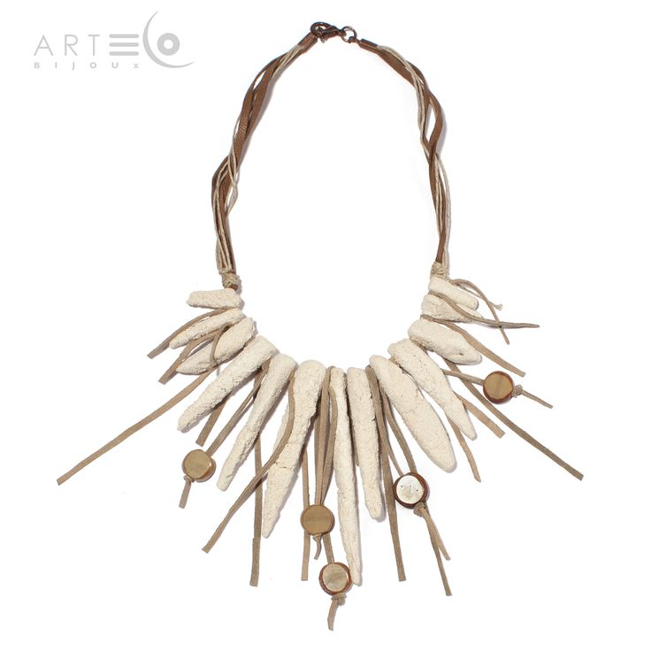 Necklace-choker realized with white sand, glass pearls, suede elements and rope thread. Buy it on  ArtEco's Etsy shop! https://www.etsy.com/listing/201668979/necklace-choker-realized-with-white-sand