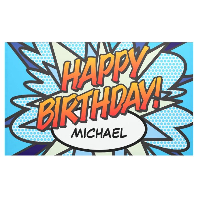 Comic Book Superhero BOOM Birthday Banner Personalized Party Decoration