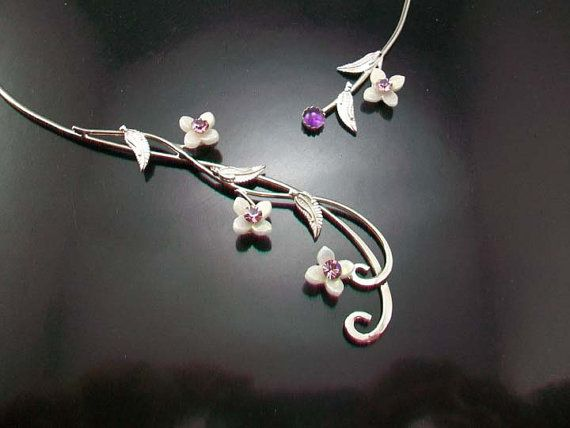Sterling Bridal Necklace Neckpiece Torc, Elven Celtic Jewelry Fantasy Jewellery -Vine leaves and flowers - Innocence torc