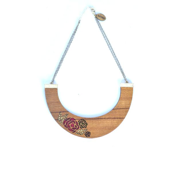 Rose bib (single) - #rachanareddy #wood #woodbib #statementneckpiece #neckpiece #necklace #bib #carved #rosepetals #roses #elegant #stylish #clutch   Shop here: www.rachanareddy.com
