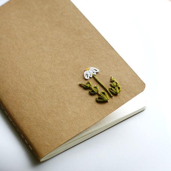 Daisy hand embroidered moleskine pocket notebook by PoppyandFern, $12.00