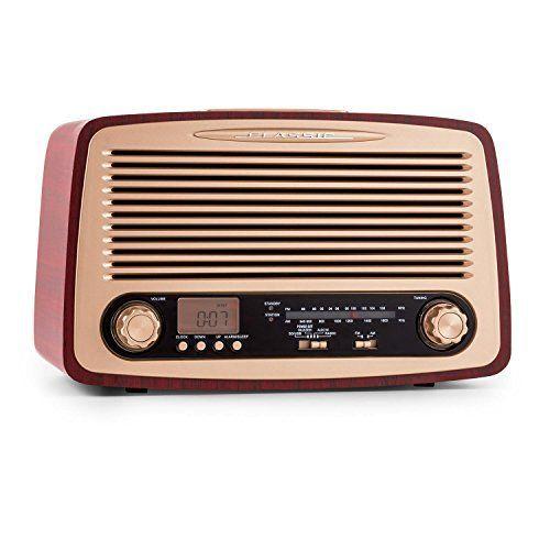 oneConcept Dabby-Holly radio style rétro (tuner FM/AM avec ports AUX, USB et SD pour lecture MP3, fonction réveil avec alarme programmable,…