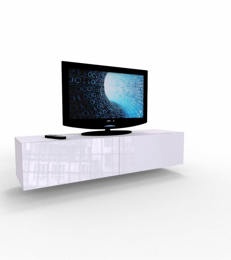 biała szafka pod telewizor z 2 klapami - 140 cm kolekcja VIGO