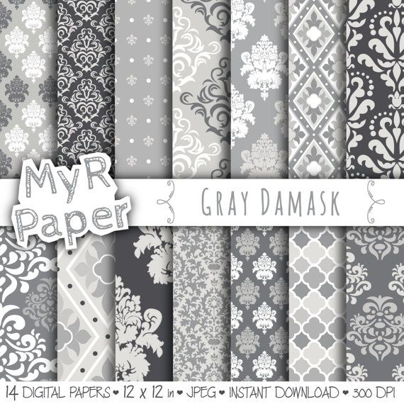 """With #love by @myrpaper in @etsy #pattern #design #graphic #paperdesign #papercraft #scrapbooking #digitalpaper damask digital paper: """"GRAY DAMASK"""" digital paper pack with grey (gray) #damask backgrounds and patterns for scrapbooking  Hello And Welcome To My Shop  These digital papers..."""