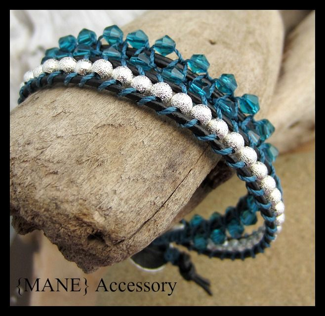 Beaded leather wrap bracelet.. 2 wraps with teal Swarovski crystals and sparkly silverdust beads.