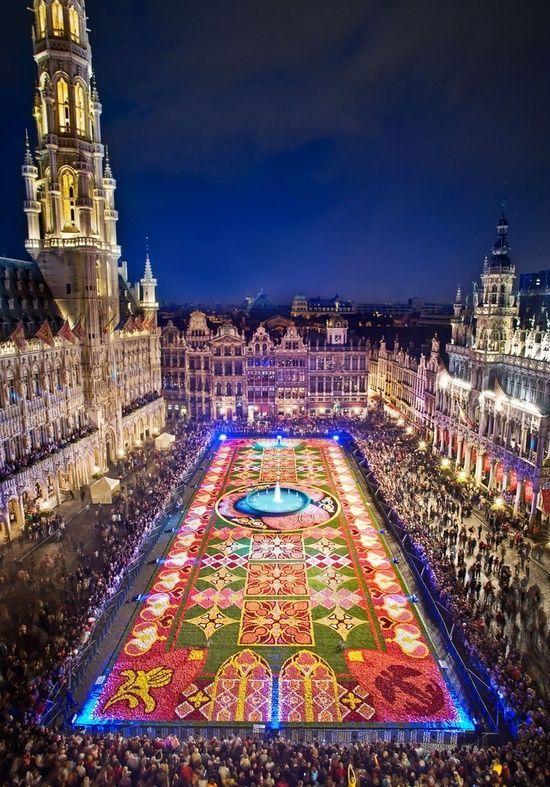 Tapis de fleurs, Bruxelles, 120 volontaires du 14 au 17 août, tous les 2 ans, essentiellement des bégonias.