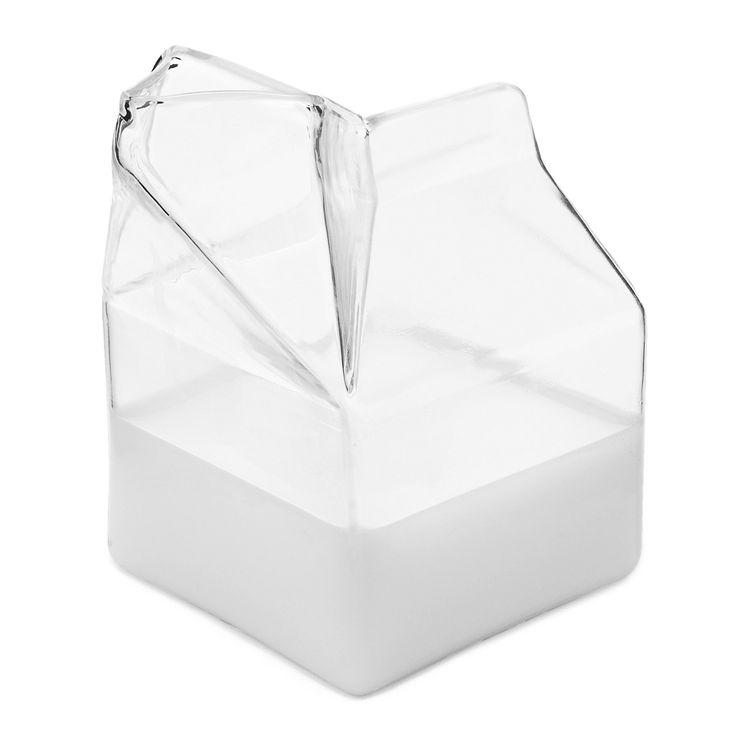 GLASS MILK CARTON CREAMER   Half-Pint, Cartons, Creamers, Milk, Clear, Kitchen, Table   UncommonGoods: Glasses Creamer, Glasses Cartons, Milk Creamer, Cute Glasses, Milk Carafe, Milk Cartons, 14 Glasses, Milk Jugs, Glasses Milk