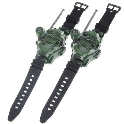One Pair of Watch Style Funny Free Talker Walkie Talkie with Seven Function (Green) $7.22 Mini watch style walkie talkie with antenna A range of up to 150 meter, to communicate over greater distance Has seven functions, such as walkie talkie, watch, magnifying lens, focused nightlight, compass, speculum and so on Practical and convenient to carry LCD display displays time Has a switch for turning on/off With built- in speaker and microphone Keep your interphone on during activities #GifGooDs