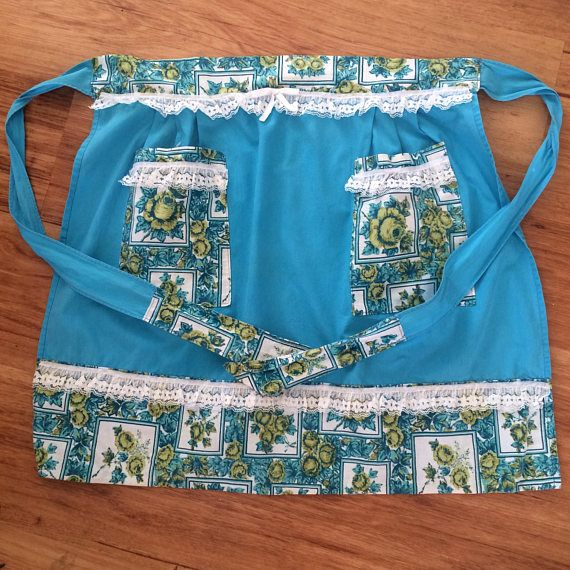 Restored Vintage Hostess Apron, turquoise with gold roses, white lace (by Mz Jones Boudoir)