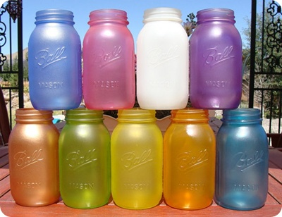 Extra mason jars? Paint them and use  as cute containers: Glow Sticks, Food Colors, Food Coloring, Elmer Glue, Mason Jars, Masonjar, Flowers Vase, Seaglass, Sea Glasses