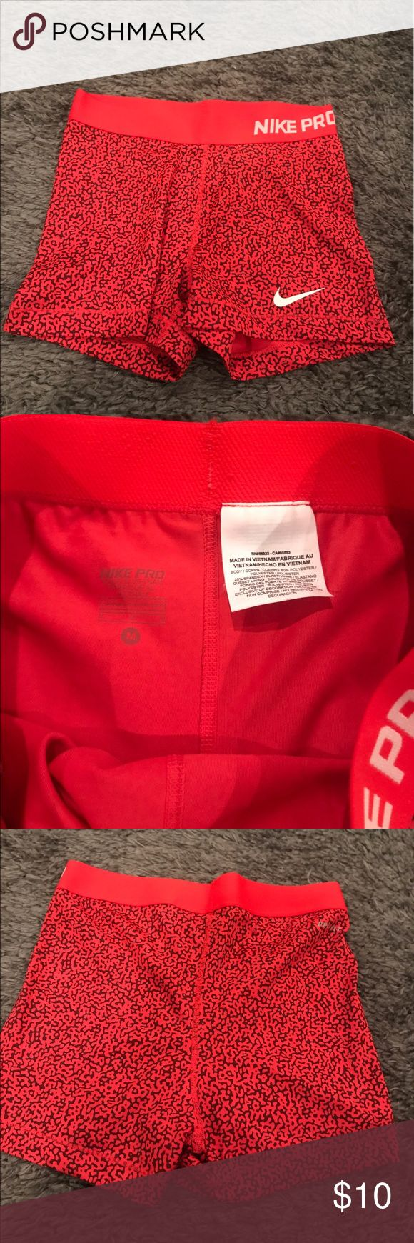 Nike Dri Fit red spotted spandex shorts Perfect condition, only worn once Nike Shorts