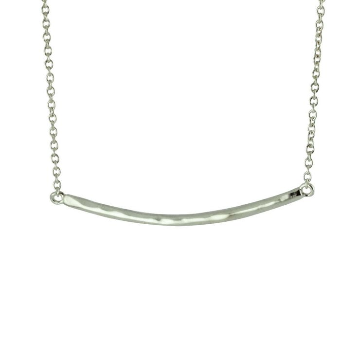 Sterling Silver Hammered Bar Pendant Necklace Line | apoptosisnyc.com